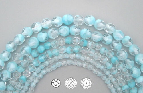 7in Czech Fire Polished Round Faceted Glass Beads in Crystal Light Blue Givre