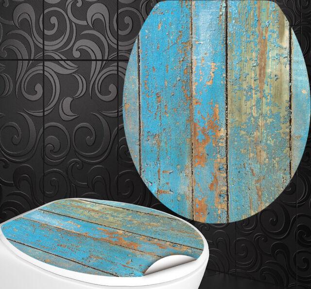 """WC Sitz Aufkleber """" BLAUES HOLZ """" Design Folie Dekor Toilettendeckel Klodeckel"""