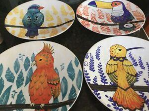 Pier-1-TROPICAL-BIRD-8-1-4-034-Set-of-4-salad-dessert-stoneware-plates