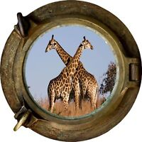 Huge 3D Porthole Giraffes on Safari View Wall Stickers Mural Decal 219