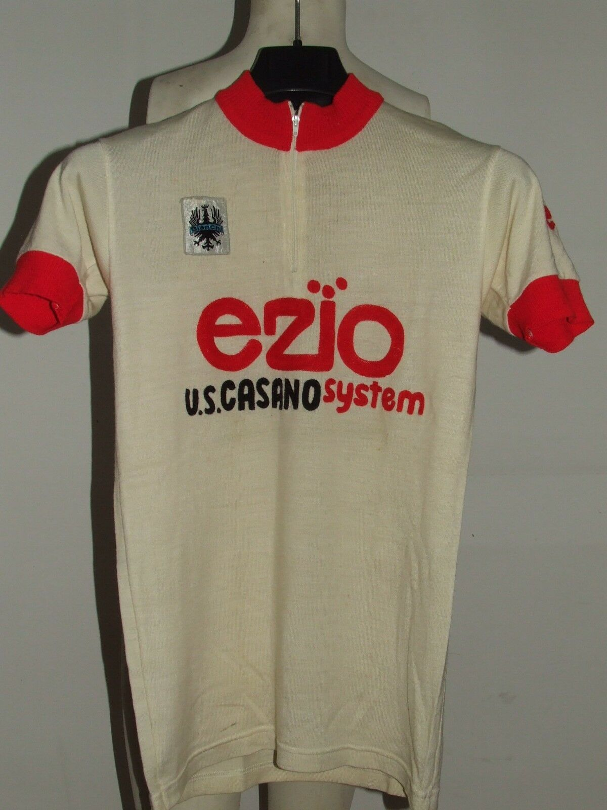MAGLIA BICI SHIRT MAILLOT CICLISMO EROICA VINTAGE  70'S EZIO 50% LANA RICAMATA  all in high quality and low price