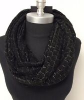 Women's Fashion Soft Knit Shiny Black 2-circle Cowl Long Infinity Scarf Wrap