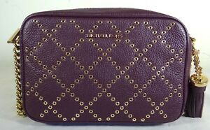 7f2cc63c1caa Image is loading Michael-Kors-Ginny-Micro-Grommet-Damson-Leather-Medium-