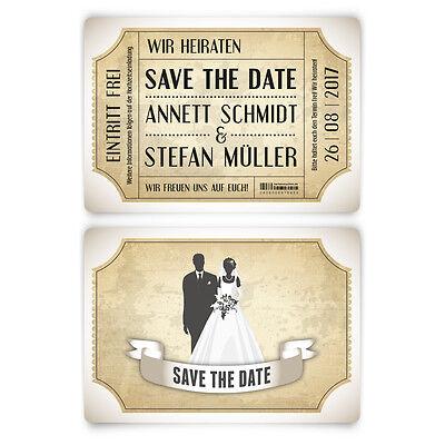 Vintage Brautpaar in Weiß Save the Date Karten zur Hochzeit