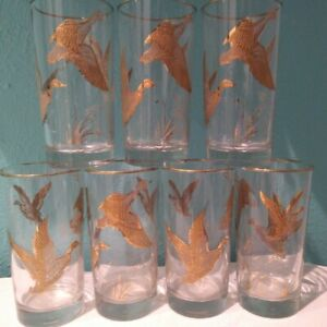 7-Vintage-Libbey-Golden-Mallard-Highball-Cocktail-Glasses-Barware-24-K-gold