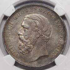 1875 G GERMANY Baden Five 5 Mark Silver Coin NGC AU55 KM #263.2 Friedrich I AU+