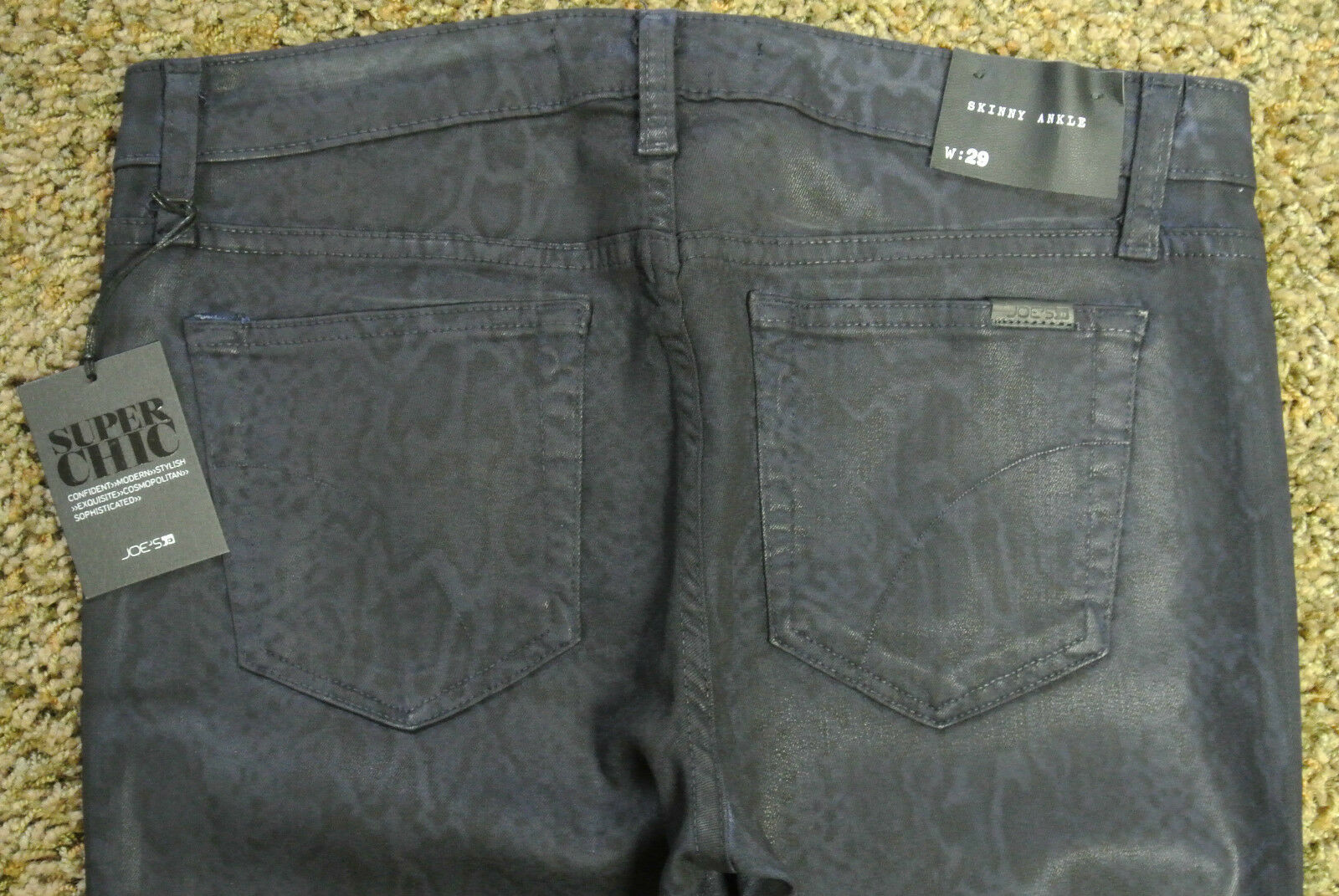 JOE'S THE SKINNY Ankle JEANS 29X29 NWT Stretch  Midnight  Coated Snake Print