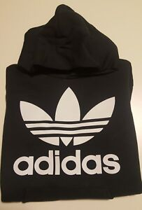Felpa-con-cappuccio-e-tasche-unisex-bianca-o-nera-scritta-adidas-logo-trifoglio