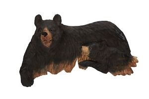 Black-Bear-With-A-Cub-Wall-Art-Hand-Wood-Carving-Cabin-Rustic-Decor