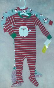 a92533366614 NEW Carter s JOY 12 Month Baby 2-Pair Pack Christmas Footed Pajamas ...