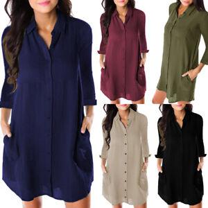 Femme-Robe-Manches-Longues-Revers-Couleur-Uni-en-Vrac-Ete-Boutonnee-Robe-Chemise