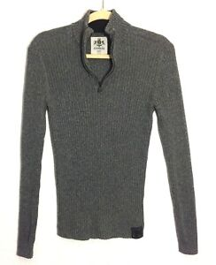 Express-Womens-Ribbed-Half-Zip-100-Cotton-Gray-Sweater-Size-M