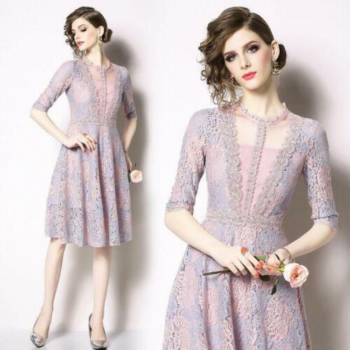 Elegant Women/'s Mid Long Dress Slim Fit Lace Crewneck Occident Lace Ball Gown sz