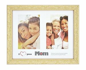 I-Love-Mom-Frame-8x10-Golden-Beige-Ornate-Finish-for-2-4x6-Photos-with-Mat