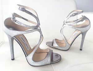 f114bb3e5b6 JIMMY CHOO LANCE SILVER FINE GLITTER MIRROR LEATHER WEDDING SANDALS ...