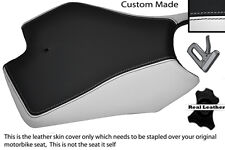 WHITE AND BLACK CUSTOM FITS APRILIA RS4 125 11-12 FRONT LEATHER SEAT COVER