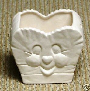 Ceramic-Bisque-Heart-Bag-Glazed-inside-Scioto-Mold-2376-U-Paint-Ready-To-Paint