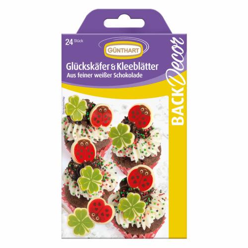 Günthart BackDecor 24 Schokoladen Glückskäfer und Kleeblätter zum Dekorieren +