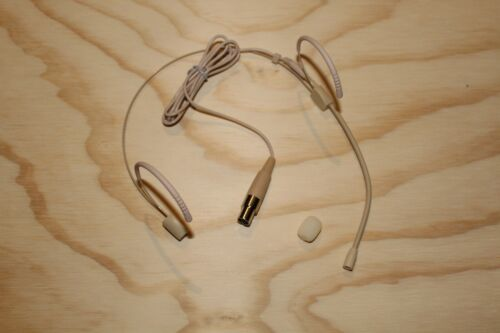 Beige Headset Microphone w// Double Earhook for Shure Wireless