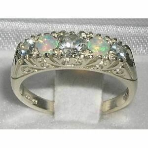 SOLID STERLING SILVER COLORFUL FIERY NATURAL OPAL amp AQUAMARINE RING size 6 - Watford, United Kingdom - SOLID STERLING SILVER COLORFUL FIERY NATURAL OPAL amp AQUAMARINE RING size 6 - Watford, United Kingdom