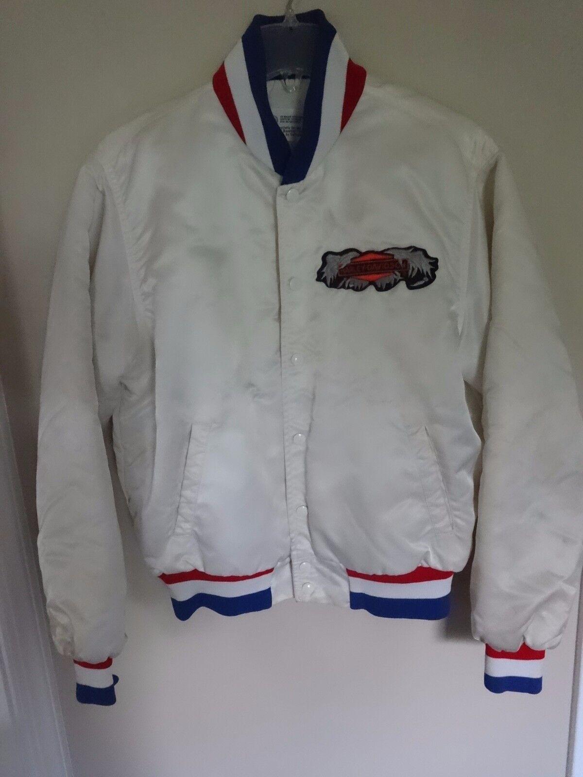 Vtg '84 US Amateur Baseball Team Snap Front Satin Lined Coat Men L Harley D Logo