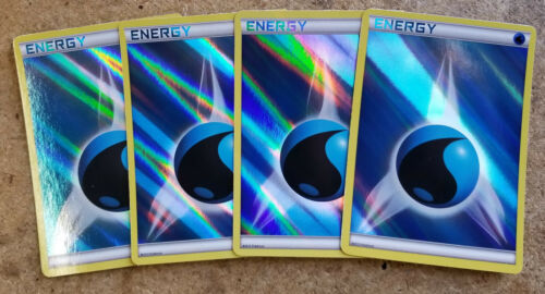 4x Pokemon Holo Foil WATER Energy Cards (set of 4) from Battle Decks
