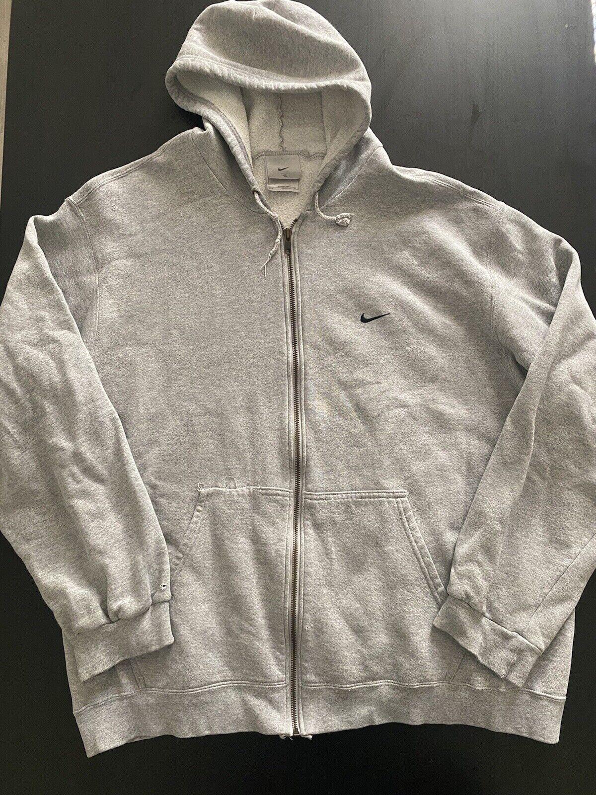 Vintage Nike Mini Swoosh Zip Up Hoodie 90s Silver… - image 1