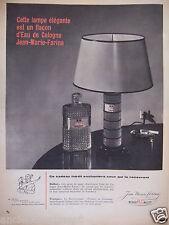 PUBLICITÉ 1958 ROGER & GALLET CETTE LAMPE EST UN FLACON D'EAU DE COLOGNE - AD
