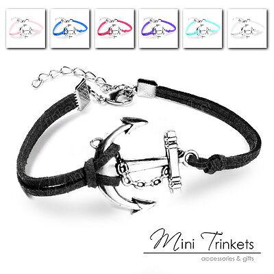 Anchor Nautical Silver Charm Friendship Karma Wish Bracelet Gift Wristband Suade