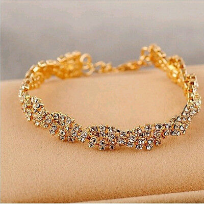 New Fashion Womens Gold Plated Clear Crystal Chain Simple Bracelet Charm Jewelry