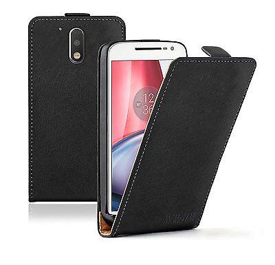 SLIM BLACK Leather Flip Case Cover Pouch For Motorola Moto G4 / G4 Plus +2 FILMS