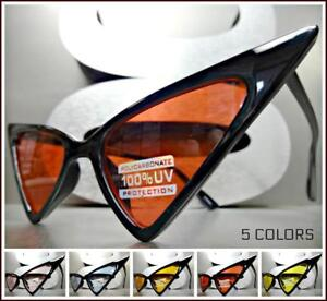 EXAGGERATED VINTAGE RETRO CAT EYE Style SUN GLASSES Gold Frame Pink /& Blue Lens