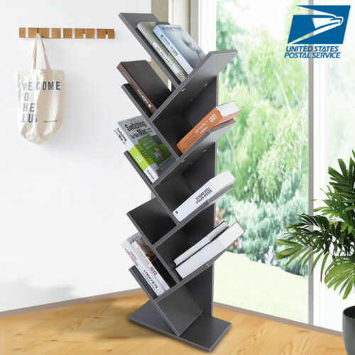 9 Layers Tree Shape Wooden Bookshelf Display Storage Rack Stable Book Organizer