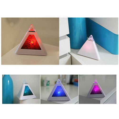 Pyramide Design 7-Farben Beleuchtung LED Wecker Tischuhr mit Temperatur