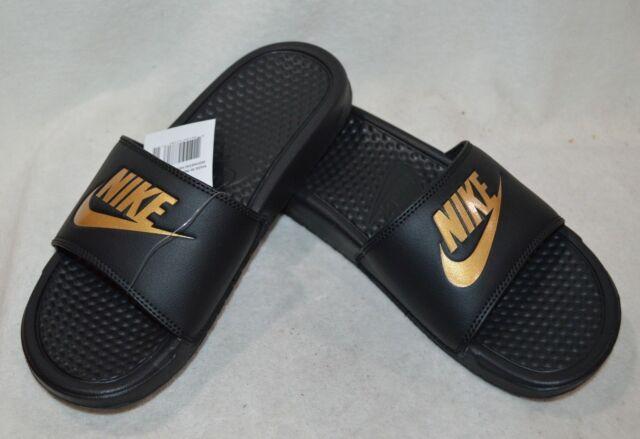 half off online shop new authentic Nike Benassi JDI Black/Metallic Gold Men's Slides Sandals- 7/8/9 ...