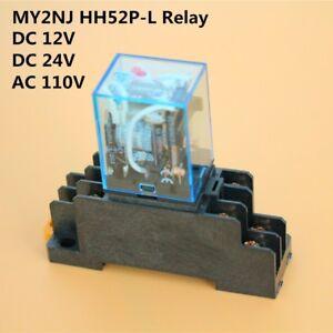 AC//110V Coil Cube Relay  MY2N-J MY2NJ HH52P-L Socket Base PYF08A