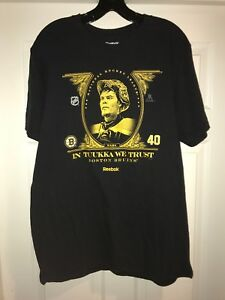 51a696b5f Reebok In Tuukka Rask We Trust Boston Bruins NHL Men s Black Tee T ...