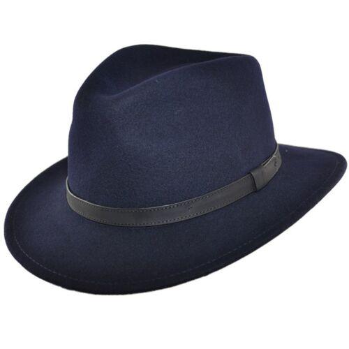 Herren Knautschfähig Marineblau 100/% Wollfilz Fedora Filzhut mit Leder Typ Band