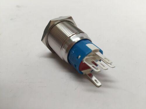 MARINE CAR BOAT SS304 BLUE LED 12V 5A FLUSH LIGHT ON-OFF PUSH SWITCH RING BUTTON