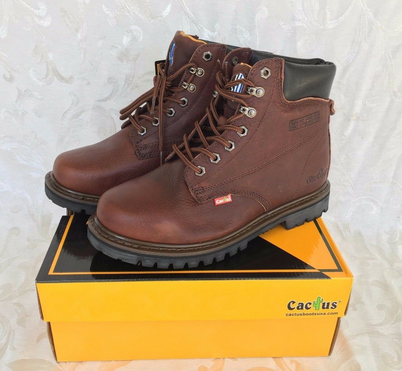 Cactus Men Dark Brown 6  Leather Work Boots Oil Resistant 627 Sizes Comfort Fit