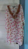 Micky London Beaded Coverup Beach Swimwear Top Cover Up Pink Multi Swim S/m