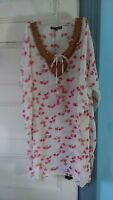 Micky London Beaded Coverup Beach Swimwear Top Cover Up Pink Multi Swim S/m
