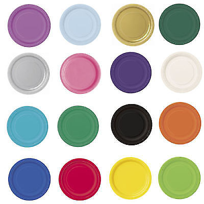 """16 x 7/"""" SQUARE Paper PLATES Plain Solid Colours Birthday Party Tableware 17cm"""