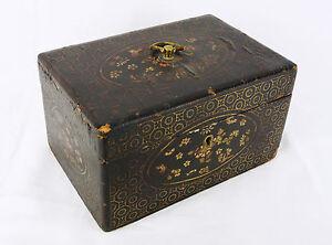 Art-de-l-039-asie-boite-en-bois-laque-Lacquered-wooden-box-china-lacquer