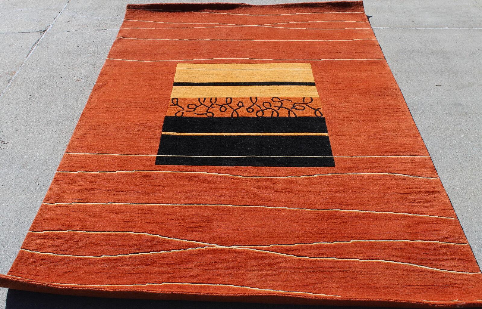 R17334 Elegant Contemporary Tibetan Area Rug 5.1' X X X 6.9' Terracotta MI Nepal 215965