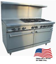 New 60 Lp Propane Range 8 Open Burner 12 Griddle Plancha Stratus Sr 8g12 7274