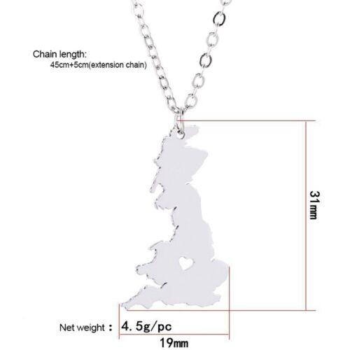 Corazón de Inglaterra//Reino Unido//Gran Bretaña Mapa Contorno De Tono Plata Colgante Collar