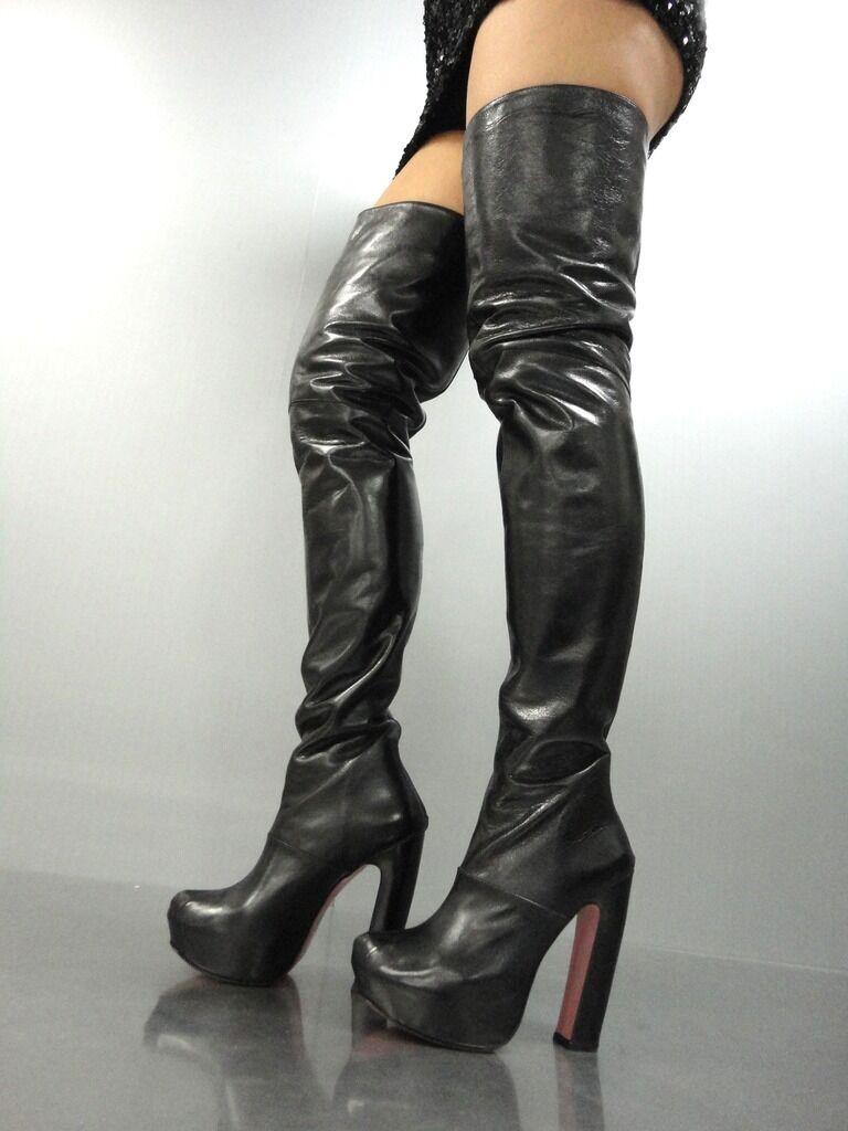 Grandes zapatos con descuento MORI LUXURY NEW OVERKNEE PLATFORM BOOTS STIEFEL STIVALE BOTAS LEATHER BLACK NERO