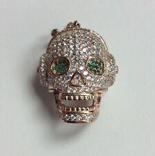 REAL STERLING SILVER 3D Skull Head & Headphones Green & White CZ PENDANT 12.4g