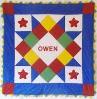 Personalized Primary Baby Boy Quilt Kit With Pattern Red Yellow Blue Green
